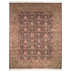 Asian Hand-knotted Royal Kerman Purple and Green Wool Rug (6' x 9')