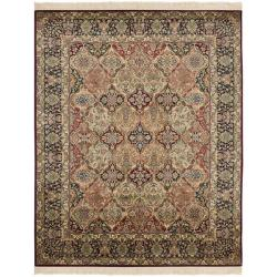 Asian Hand-Knotted Traditional-Motif Royal Kerman Multicolor Wool Rug (6' x 9')