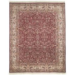 Asian Hand-knotted Royal Kerman Red and Ivory Wool Rug (6' x 9')
