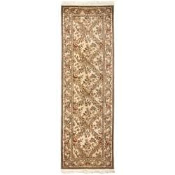 Asian Hand-Knotted Royal Kerman Ivory Oriental Wool Rug (2'6 x 12')