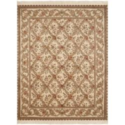 Timeless Asian Hand-Knotted Royal Kerman Ivory Diamond-Patterned Wool Rug (8' x 10')