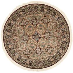 Asian Traditional Hand-Knotted Royal Kerman Multicolor Wool Rug (6' Round)