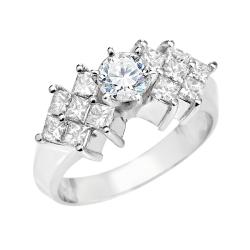 14k White Gold 1 1/4ct TDW Round and Princess Diamond Ring (I-J, SI1-SI2)