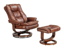 SoHo Bordeaux Finish European Chair and Ottoman
