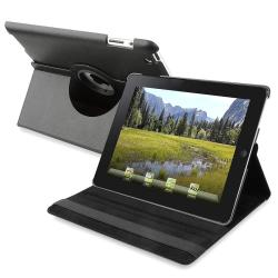 Black Swivel Leather Case for Apple iPad 2