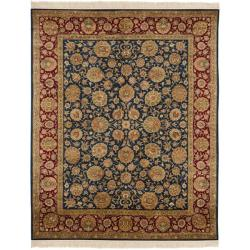 Asian Hand-Knotted Royal Kerman Blue and Red Indoor Wool Rug (8' x 10')