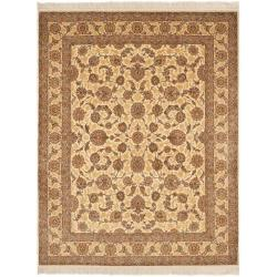 Asian Hand-knotted Royal Kerman Ivory Wool Rug (6' x 9')