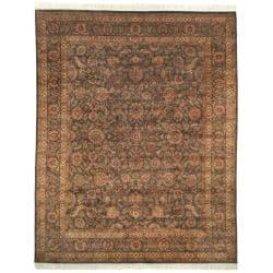 Asian Hand-knotted Royal Kerman Grey Wool Rug (6' x 9')