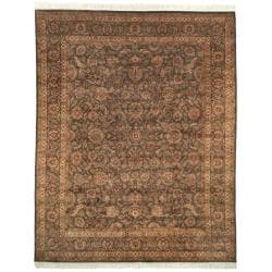 Asian Hand-knotted Royal Kerman Grey Wool Rug (8' x 10')