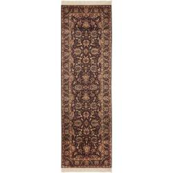 Asian Hand-knotted Royal Kerman Purple Wool Rug (2'6 x 6')