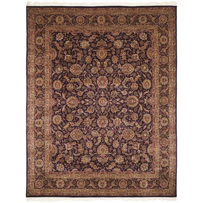 Asian Hand-knotted Royal Kerman Purple Wool Rug (6' x 9')