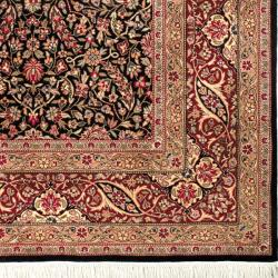 Asian Hand-knotted Royal Kerman Black and Red Wool Rug (8' x 10')