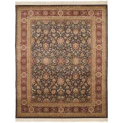 Asian Hand-knotted Royal Kerman Blue and Red Wool Rug (4' x 6')