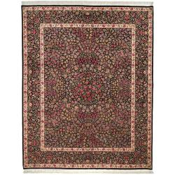 Asian Hand-knotted Royal Kerman Black Wool Rug (6' x 9')