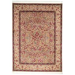 Traditional Bordered Asian Hand-Knotted Royal Kerman-Inspired Ivory Wool Rug (8' x 10')