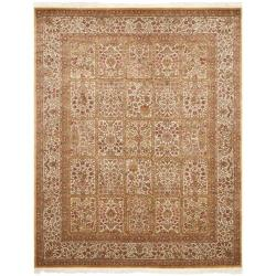 Asian Hand-Knotted Royal Kerman Ivory with Multicolored Display Wool Area Rug (8' x 10')