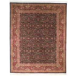 Asian Hand-knotted Royal Kerman Black/ Red Wool Rug (6' x 9')