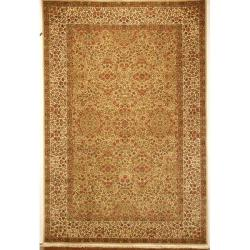 Asian Hand-knotted Royal Kerman Green and Ivory Wool Rug (6' x 9')