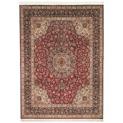 Asian Hand-Knotted Royal Kerman Traditional Red-and-Blue Wool Rug (6' x 9')