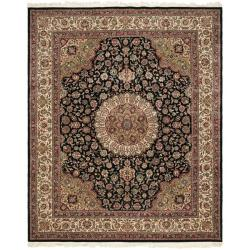 Asian Hand-knotted Royal Kerman Black and Ivory Wool Rug (6' x 9')