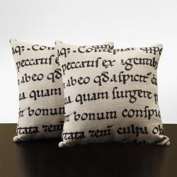 Linen 18-inch Linen Latin Script Throw Pillows (Set of 2)