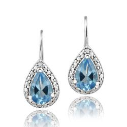 Glitzy Rocks Sterling Silver Swiss Blue Topaz and Diamond Accent Earrings