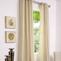 Grommet Striped Bone Faux Silk Jacquard 95-inch Curtain Panel