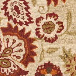 Handmade Blossom Paisley Beige Wool Rug (26 x 4)