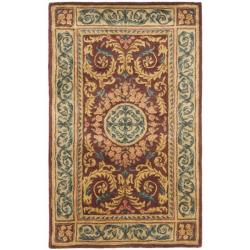 Handmade Aubusson Bonnelles Red/ Beige Wool Rug (3' x 5')