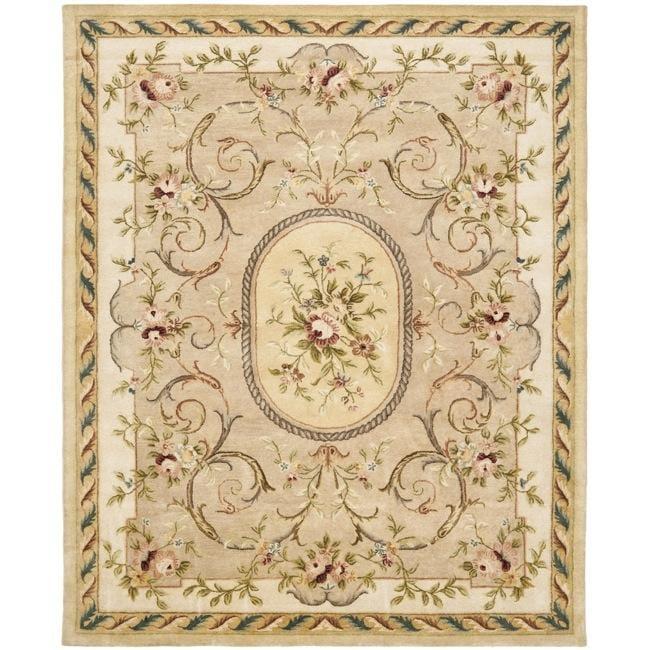 Safavieh Handmade Aubusson Beige Hand-spun Wool Rug (9' x 12')