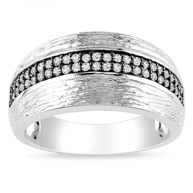 Miadora Sterling Silver 1/4ct TDW White Diamond Ring (G-H, I2-I3)