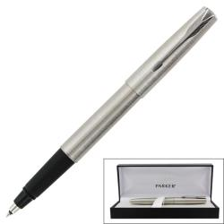Parker Frontier Stainless Steel Chrome Trim Black Ink Rollerball Pen
