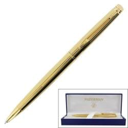 Waterman Hemisphere Black Retractable Chiseled Gold-trim Ballpoint Pen