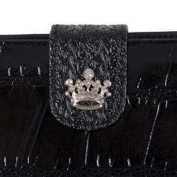 Adi Designs Women's Crown Accent Crocodile Print Wallet