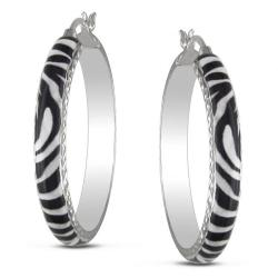 Sterling Silver Zebra Stripe Animal Painting Hoop Earrings