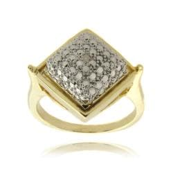 Finesque Fusion 14-karat Gold Overlay with Genuine Diamond Accent Square Ring