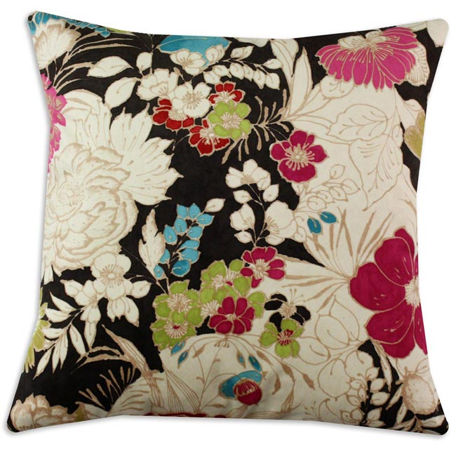 Cisco Teak Dark Brown Floral Fiber Pillow