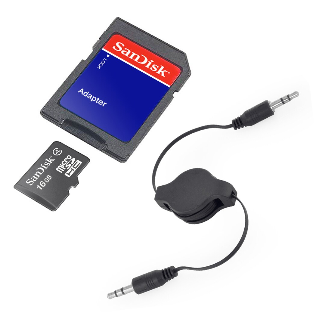 SanDisk 16GB Class 4 MicroSD Memory Card with SD Adapter and AUX Cable