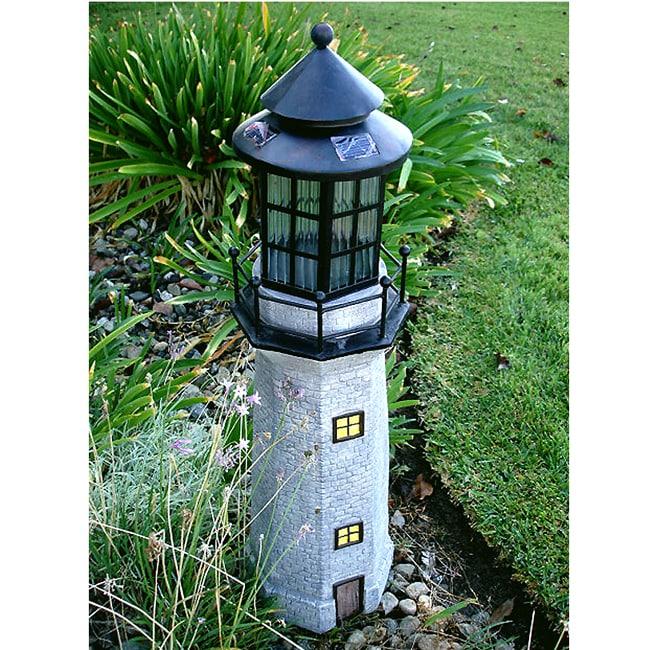 Grey 3-foot Large Lighthouse Fiberglass Solar LED Light