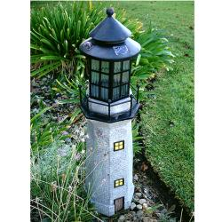 Grey 3-foot Large Lighthouse Fiberglass Solar LED Light