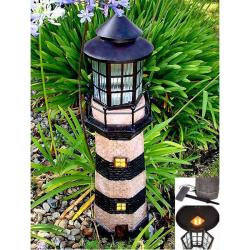 Green/ Ivory 3-foot Lighthouse Fiberglass Solar Light