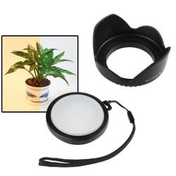 Camera Lens Hood/ White Balance Filter for Canon Rebel T3i X5