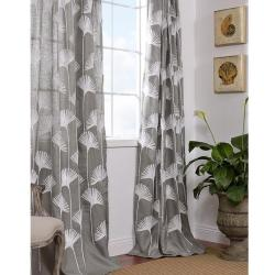 Ginko Leaf Slate Crewel Embroidered Faux Linen Curtain Panel 96-inch