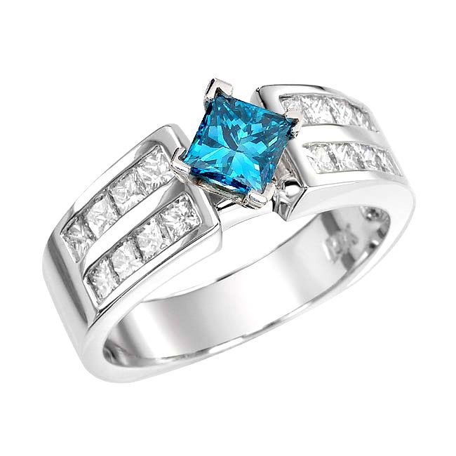 14k White Gold 1 2/3ct TDW Blue and White Diamond Ring (G, SI2)