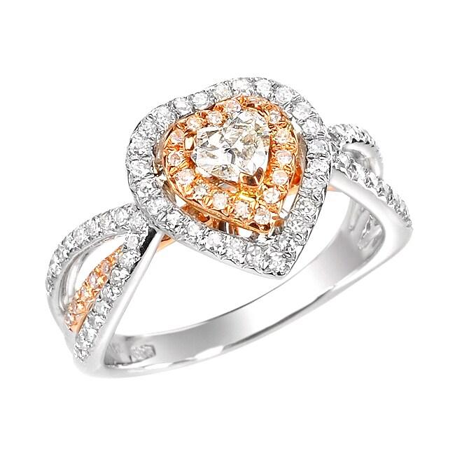 14k Two-Tone Gold 7/8ct TDW Diamond Heart Ring (G, SI1)
