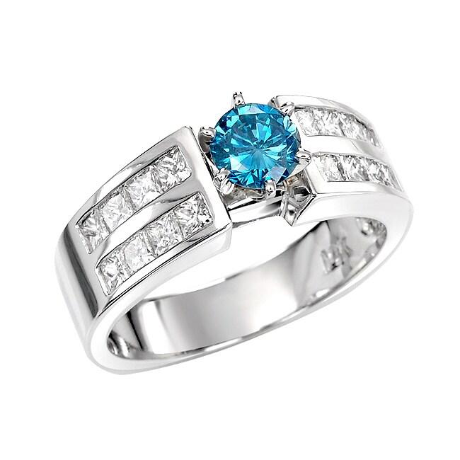 14k White Gold 1 1/2ct TDW Blue and White Diamond Ring (G, SI2)