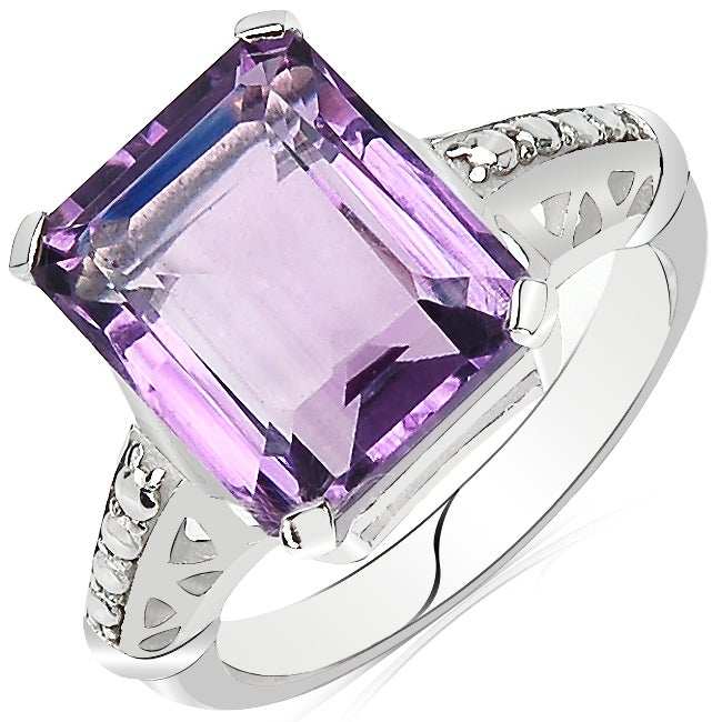 Sheila Kay Platinum Overlay Purple Amethyst Ring