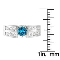 14k White Gold 1 1/2ct TDW Blue and White Diamond Ring (G, SI2)