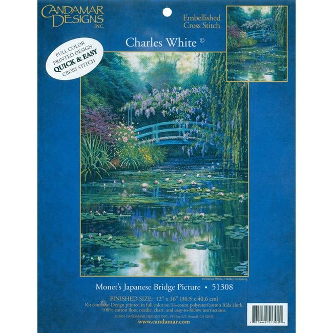MCG Textiles Charles White Monet's Japanese Bridge Embellished Cross Stitch Kit
