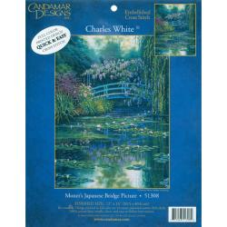 MCG Textiles Charles White Monet's Japanese Bridge Embellished Cross Stitch Kit